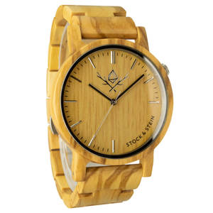 Armbanduhr, Holzuhr | Herren | Olivenholz | gravierbar rund  - Stock & Stein - Holzuhren