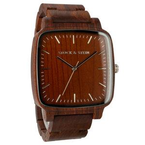 Armbanduhr, Holzuhr | Herren | Rosenholz | gravierbar eckig - Stock & Stein - Holzuhren