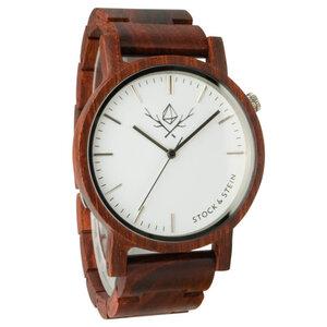 Armbanduhr, Holzuhr | Herren | Rosenholz | gravierbar rund  - Stock & Stein - Holzuhren
