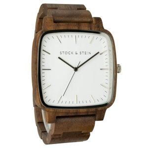 Armbanduhr, Holzuhr | Herren | Walnuss | gravierbar eckig - Stock & Stein - Holzuhren