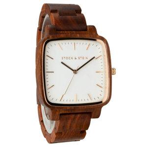 Armbanduhr, Holzuhr | Damen | Rosenholz | gravierbar eckig - Stock & Stein - Holzuhren