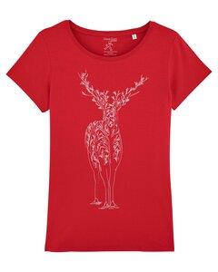 T-Shirt - Print weißer Hirsch - YTWOO