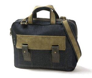 Laptoptasche / Arbeitstasche / Schultasche aus Jeans-Stoff mit synthetischem Wildleder -upcycling und Fairtrade - KINTA