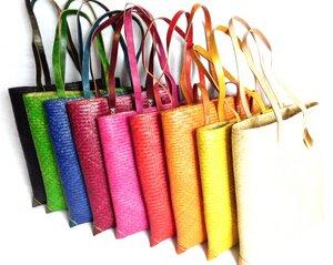 A4-Format Tasche aus Pflanzenfasern mit Ledergriffen - Fairtrade - Vhufuli Art