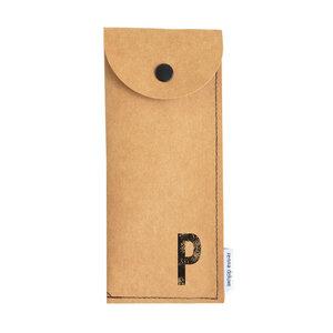 Stifteetui mit Monogramm, vegan, Federmäppchen, schwarz, braun, grau  - renna deluxe