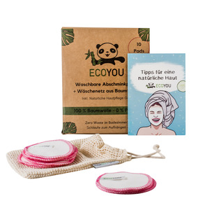 Waschbare Abschminkpads aus Baumwolle inkl. Wäschenetz - 10 Stück Pink - EcoYou