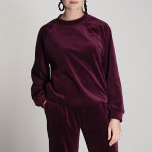 Pullover TOULON Velvet Bordeaux - JAN N JUNE