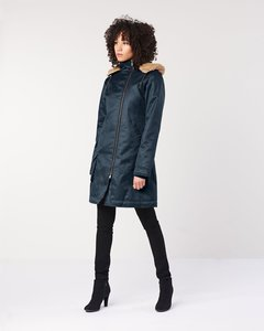 Wintermantel - Ladies' Long HoodLamb Coat - Midnite Blue - Hoodlamb