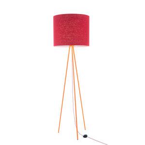 Stehleuchte Tripod Linum ORANGE aus Stahl und Leinen - verschiede Schirme - lumbono