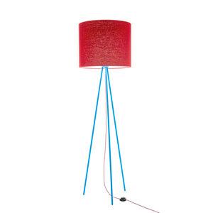 Stehleuchte Tripod Linum TÜRKIS aus Stahl und Leinen - verschiedene Schirme - lumbono