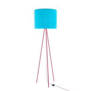 Stehleuchte Tripod Linum ROT aus Stahl und Leinen - verschiedene Schirme - lumbono