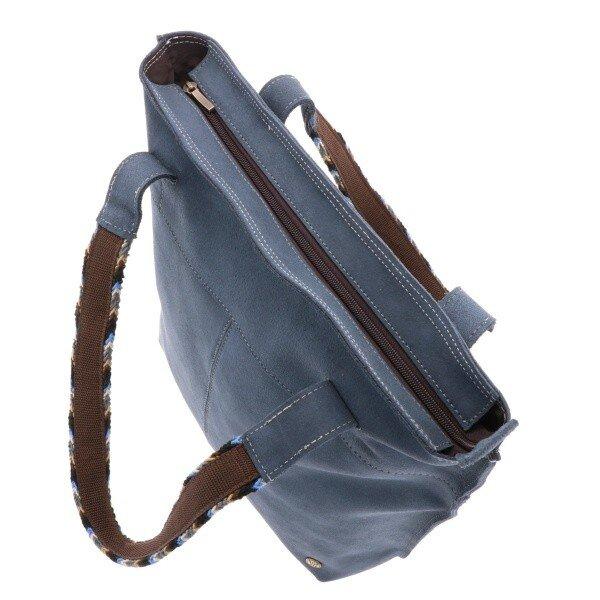 ab358c048217a MoreThanHip - Estilo Wayuu Shopper Rindsleder - Graublau