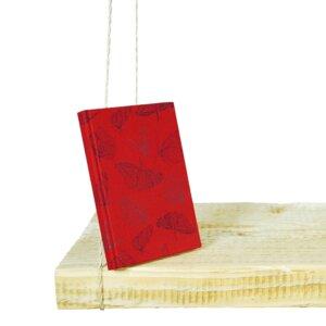 Stoffbezogenens Notizbuch, Tagebuch, Bio-Baumwolle, 'Butterfly Red' - Biostoffe Berlin by Julie Cocon