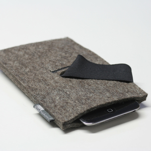 Handyhülle Filz, Smartphone-Hülle, Filzhülle Handy graubraun-meliert - tuchmacherin - handgewebtes design + filz