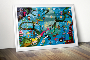"""Poster  Wimmelbild """"Phantasie"""" - Printe"""