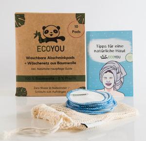 Waschbare Abschminkpads aus BIO-Baumwolle inkl. Wäschenetz 10 Stück - EcoYou