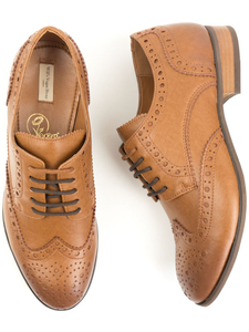 City Wingtip Brogue Oxfords Hellbraun Herren - Will's Vegan Shop