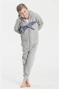 "Bio-Kinder-Jumpsuit ""Sperber"" - Peaces.bio - Neutral® - handbedruckt"