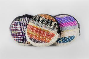 HH Geldbeutel rund aus Bio-Hanf und Recycle-Sari / Recycle Wolle - Himal Hemp