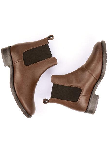ae0747465ece12 Will s Vegan Shop - Elegante Chelsea-Boots Kastanie Damen
