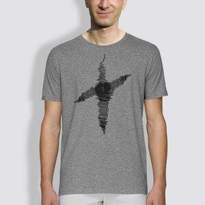 """Herren T-Shirt, """"Linienkreuz"""", Grau - little kiwi"""