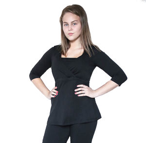 Damen Tunika Bluse Bio-Baumwolle GOTS Langarmshirt Oberteil - Albero
