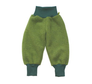 Baby Wollfleecehose, moosgrün/ rot/ saphirblau - MIRRORMONKEY