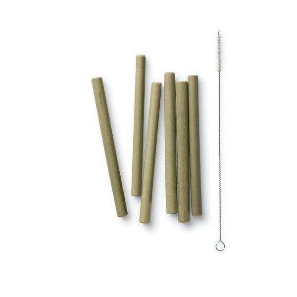 Bambu Bambus Strohhalme Trinkhalme 6er Set Kurz Mit Burste