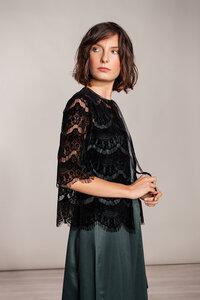 Bolero - Cardigan Spitze schwarz, Jäckchen kurzarm - SinWeaver alternative fashion