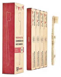 Nachhaltige Kinder Zahnbürste aus Bambus-Holz im 4er Sparset | weich - 99PANDAS