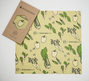 Bienenwachstuch L - 35x35cm - Gemüse Illustration  - Gaia Wrap