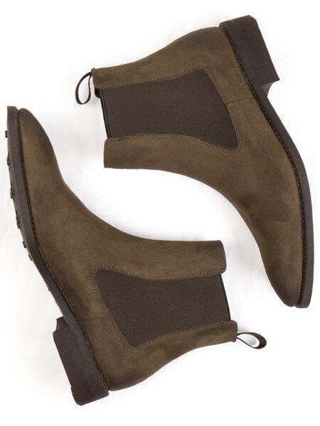 9d5201be4da Will s Vegan Shop - WVS BLACK Collection Chelsea-Boots Dunkelbraunes Veganes  Wildleder Herren