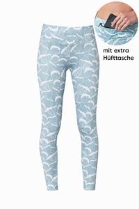 Ocean Waves Print Leggings mit extra Hüfttasche  - BOO Surfwear