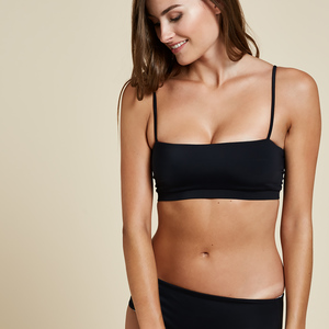 Calvi Bandeau Top Reversible - Black - Woodlike Ocean