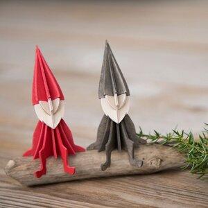 Lovi - Set aus 2 süßen Holz-ELFen zum Selberbasteln, Rot und Grau (16 cm) - Lovi