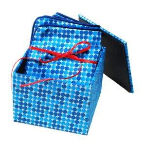 Geschenkset: Kissenbezug in stoffbezogener Box Vichy blau  - Biostoffe Berlin by Julie Cocon
