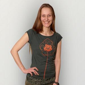 """""""Mohnblume"""" Bamboo Frauen T-Shirt  - HANDGEDRUCKT"""