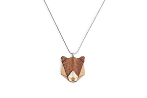 Halskette Bear | Kette mit Anhänger aus Holz | Tier Motiv | Bear - BeWooden
