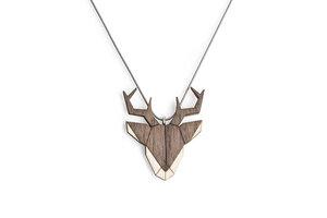 Halskette Hirsch   Kette mit Anhänger aus Holz  - BeWooden