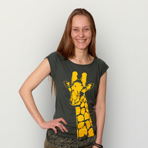 """Stefanie la Girafe"" Bamboo Frauen T-Shirt  - HANDGEDRUCKT"