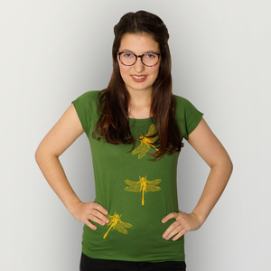 """""""3 Azurjungfern"""" Bamboo Frauen T-Shirt  - HANDGEDRUCKT"""