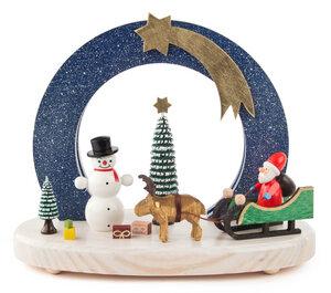 Schwibbogen Weihnachtsmann/Elchgespann Schneemann und LED Beleuchtung  - Dregeno