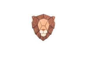 "Brosche aus Holz | Löwe Motiv - ""Lion Brooch"" | Mode Schmuck - BeWooden"