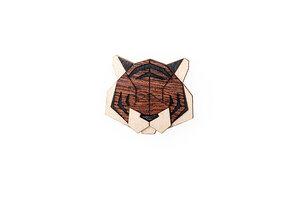 Brosche aus Holz - Tiger   Mode Schmuck - BeWooden