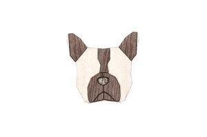 "Brosche aus Holz ""French Bulldog"" | Mode Schmuck - BeWooden"