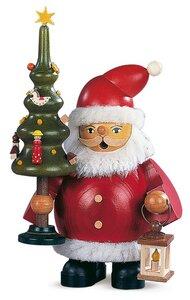 Räuchermann Weihnachtsmann mit Bäumchen 16 cm klein - Müller Seiffen