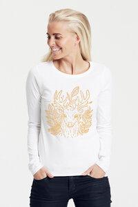 Bio-Damen-Langarmshirt Zauberhirsch - Peaces.bio - Neutral® - handbedruckt