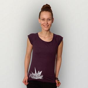 """""""Origami-Kranich"""" Bamboo Frauen T-Shirt  - HANDGEDRUCKT"""