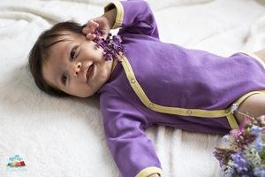 Bio Baby Wickelbody langarm lila/gelb - Mama Ocllo®