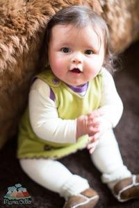 Bio Babykleid Pima Baumwolle, grün/lila - Mama Ocllo®